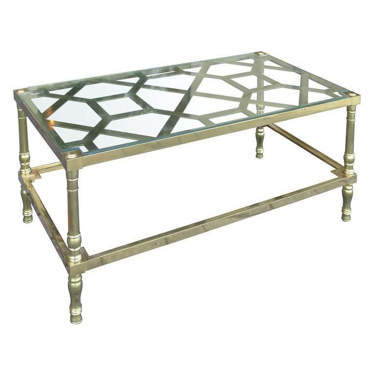 Mid Century Chippendale Style Brass Coffee Table At 1stdibs