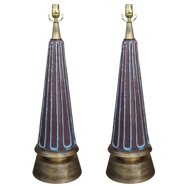 Pair of Mid-Century Pottery Lamps on Custom Gilt Bases, Probably Italian
