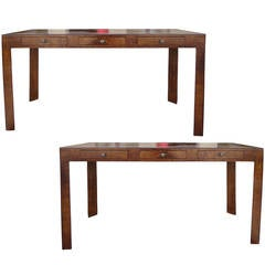 Pair of Mid-Century Olive Wood Consoles, 1970s
