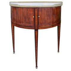 18th-19th Century Louis XVI Style Transitional Demilune with Marble Top