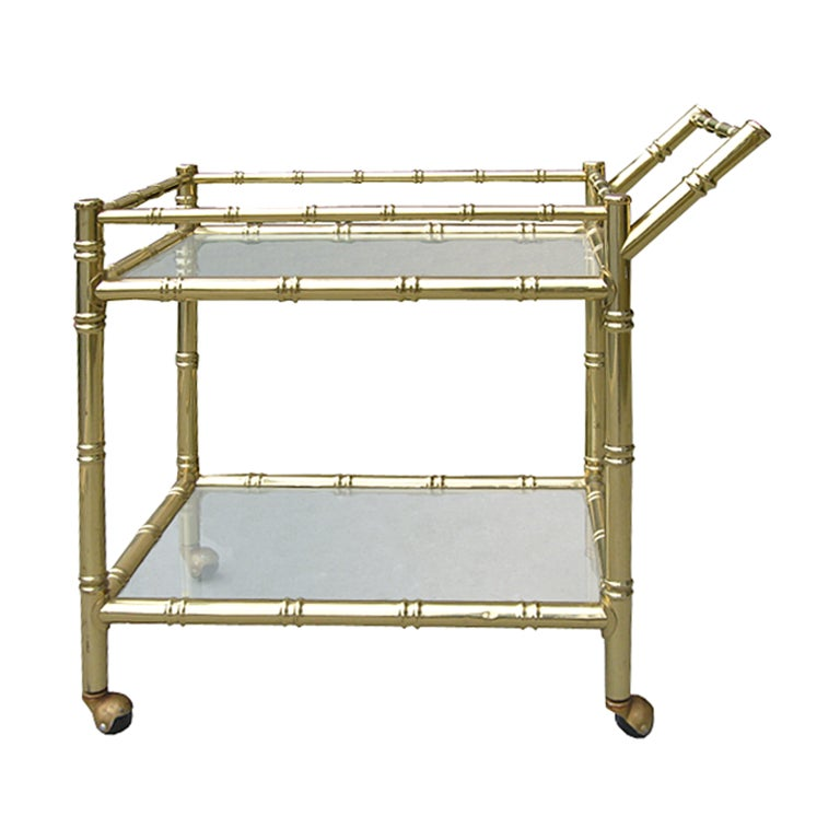 20th Century Faux Bamboo Brass Cart Attributed to Maison Baguès