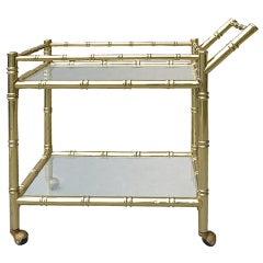 Faux Bamboo Brass Cart Attributed to Baguès