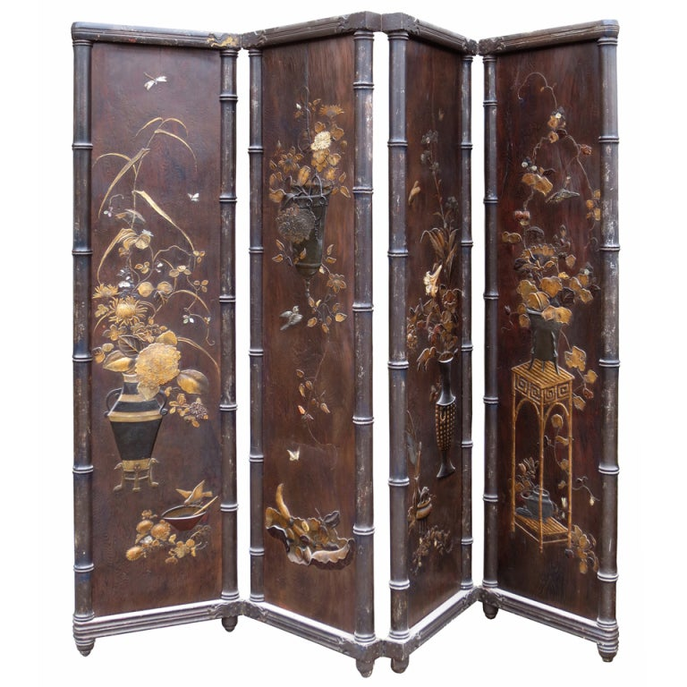 18th-19th Century Spectacular Four-Panel Oriental Screen with Gilt Detail