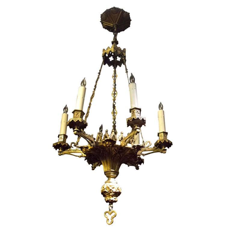 gothic style six light ormolu chandelier english circa