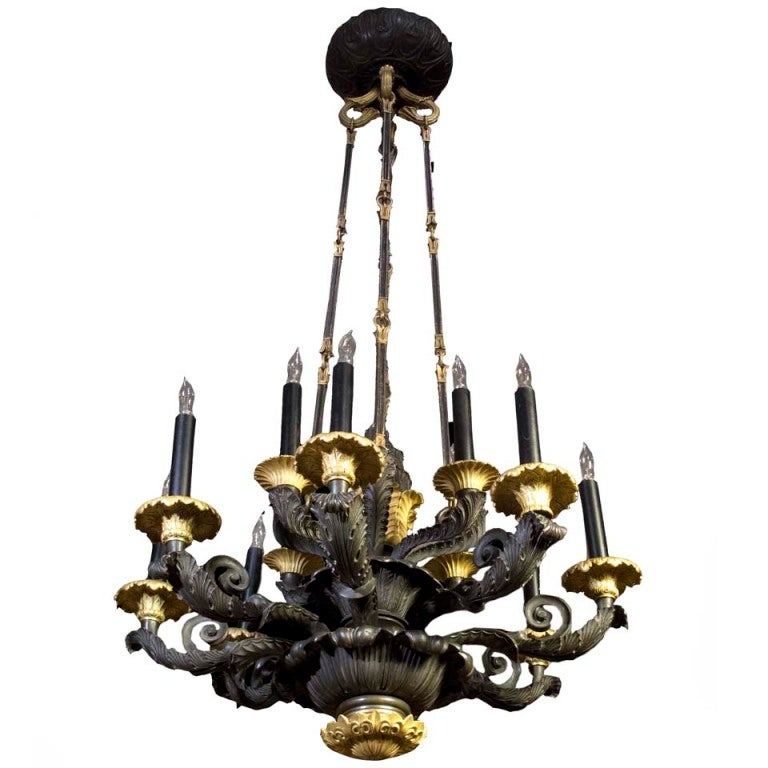Louis philippe 12 light bronze chandelier circa 1840 at 1stdibs - Circa lighting chandeliers ...
