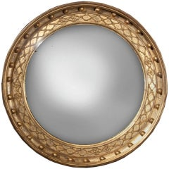 English Large Regency Convex Mirror, circa 1815