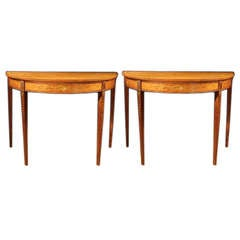 Rare PAIR George III Satinwood Console Tables, C 1785