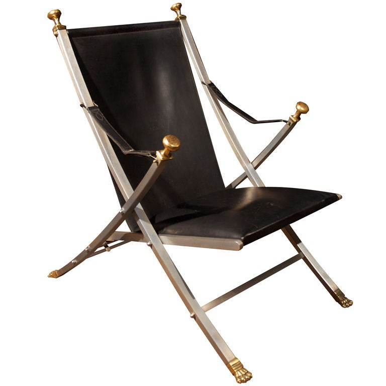 Jansen Steel Folding Arm Chair at 1stdibs
