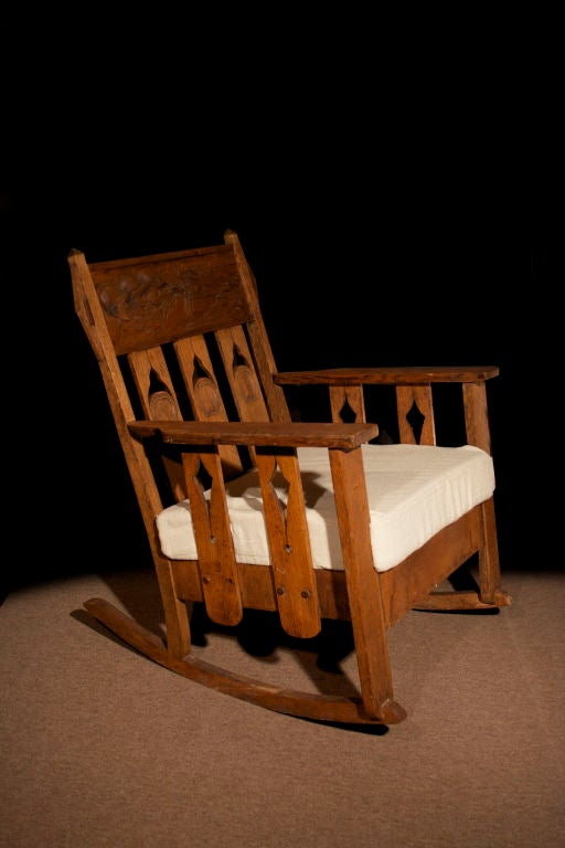 Arts and crafts carved oak rocking chair at 1stdibs for Small wooden rocking chair for crafts