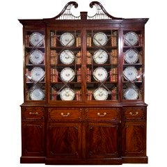 George III Mahogany Breakfront Bookcase Secretaire. English, Circa 1770