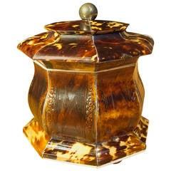 Pressed  Tortoiseshell Tea Caddy, circa 1820