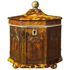 Pressed Tortoiseshell Tea Caddy with Brass Finial, circa 1820
