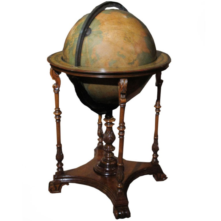 Grand Scale Terrestrial Library Globe by Kittinger, Circa 1930