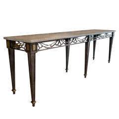 French Wrought Iron Console after Stubes, marble top, Circa 1930s