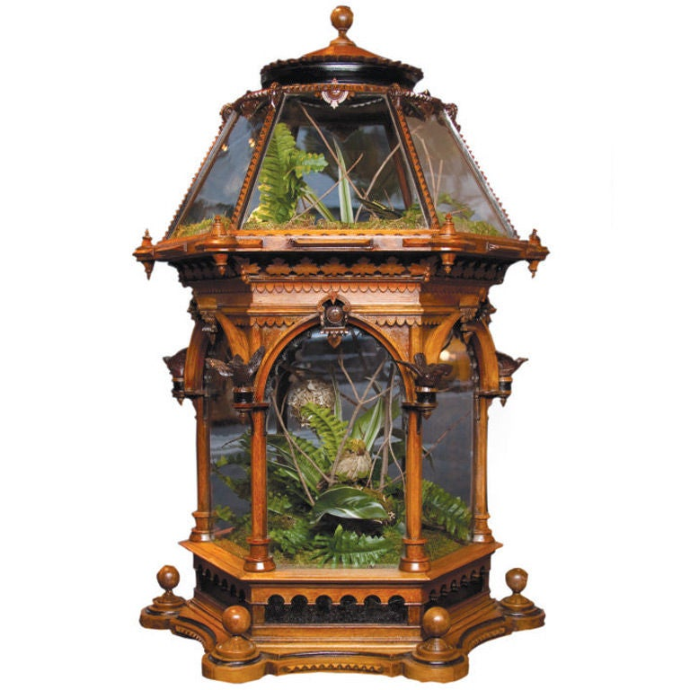 Singular Victorian Carved Wood Terrarium English C 1860