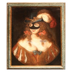 """Masquerade"" Oil on Canvas, French School 18th Century"
