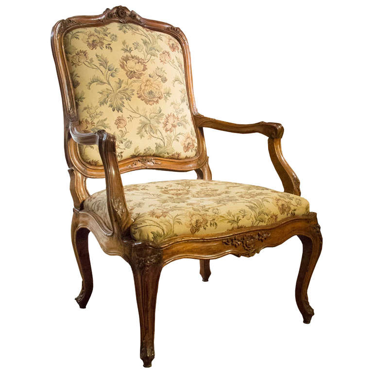 Fine Louis Xv Walnut Fauteuil Circa 1755 At 1stdibs