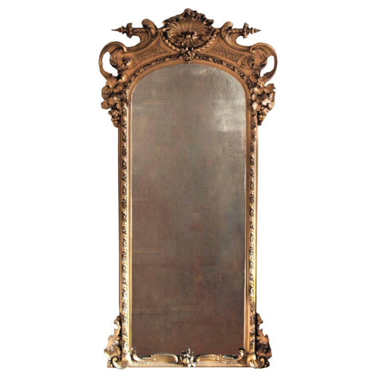 American Victorian Gilt Hall Mirror, Mid-19th Century at 1stdibs