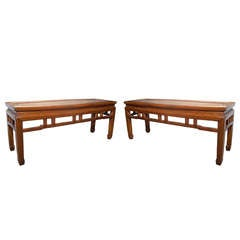Pair of Chinese Low Tables or Benches, 19th Century