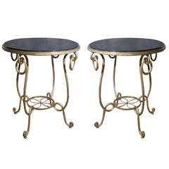 Pair of Gilt Iron Occasional Tables in the Manner of René Prou, circa 1940