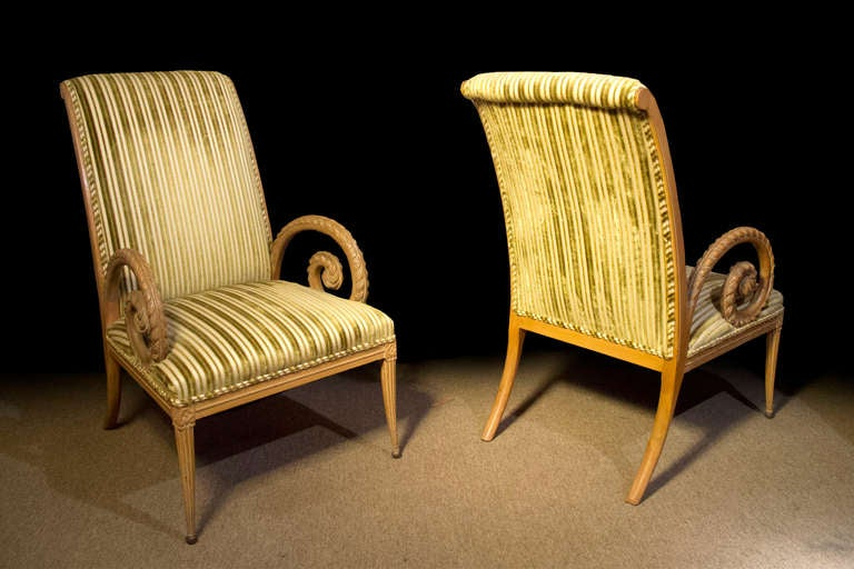 Pair mid century fruitwood neoclassical armchairs mid 20th for Mid 20th century furniture