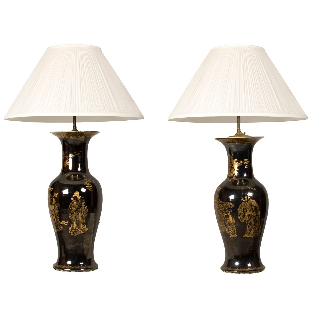 Fine pair of monumental mirror black baluster vases, mounted as Lamps