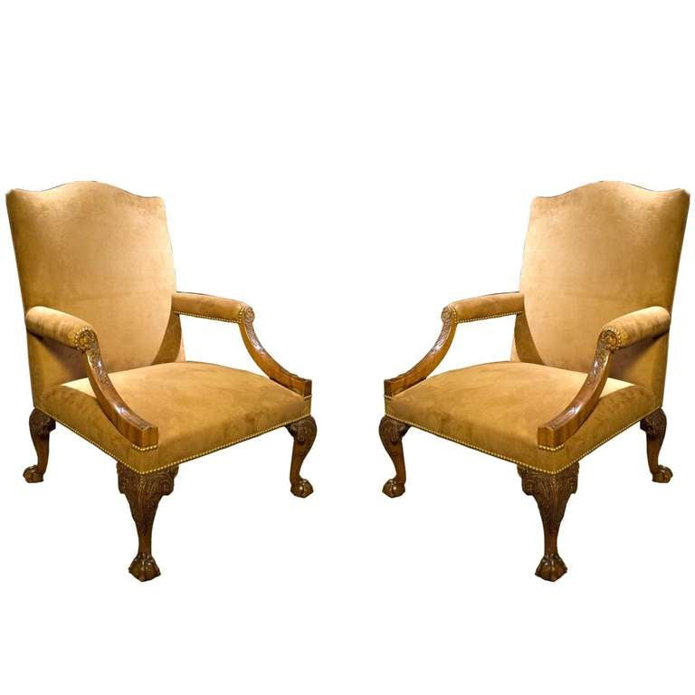 Pair of George III Mahogany Library Armchairs  : Y0471stDibsl Recliner Chairs <strong>for Back Pain</strong> from www.1stdibs.com size 768 x 768 jpeg 33kB