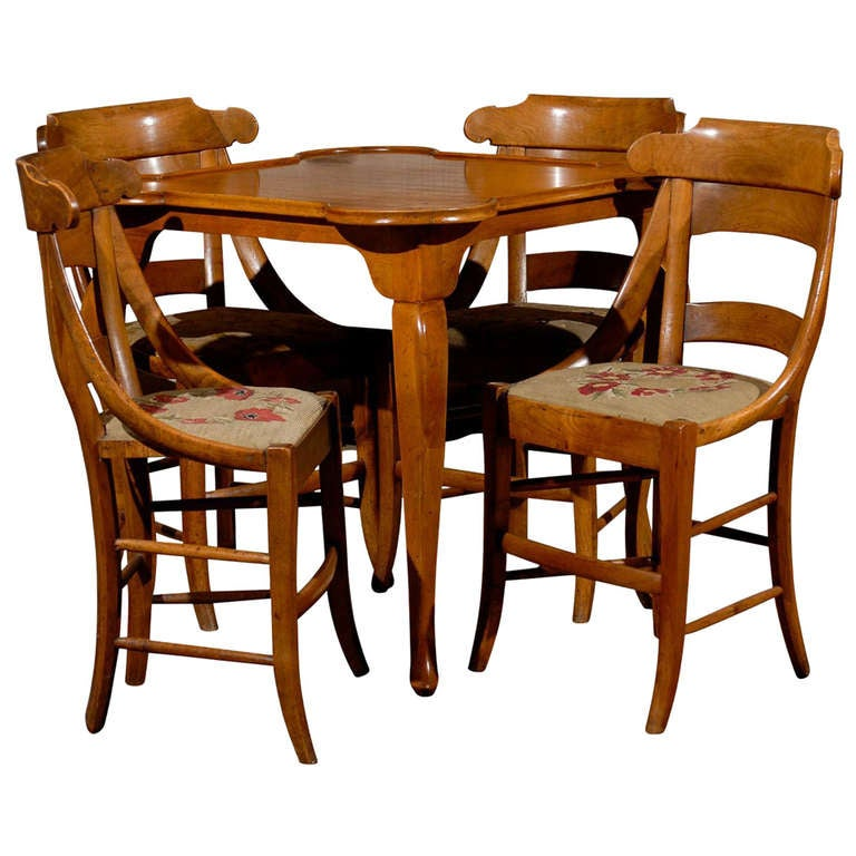 card table and chairs at 1stdibs. Black Bedroom Furniture Sets. Home Design Ideas