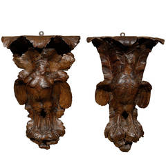 Pair of Black Forest Carved Wall Brackets or Shelves