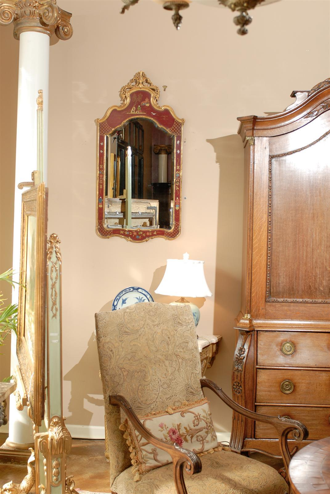Queen Anne Style Bedroom Furniture Queen Anne Style Red Chinoiserie Mirror At 1stdibs