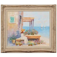 Summer Coastal Scene by John A. Manol, Mid-1900s