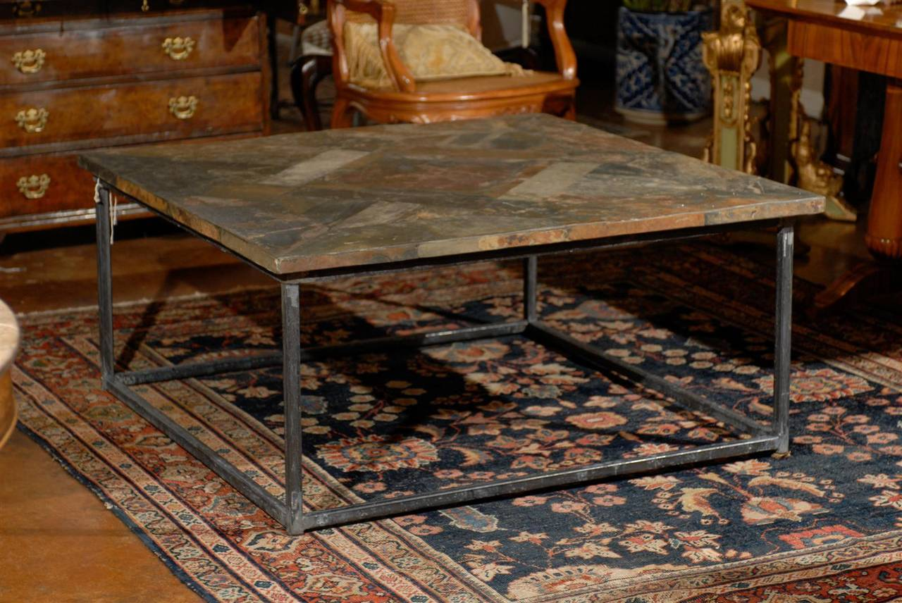 Square Coffee Table With Iron Base And Slate Top 2