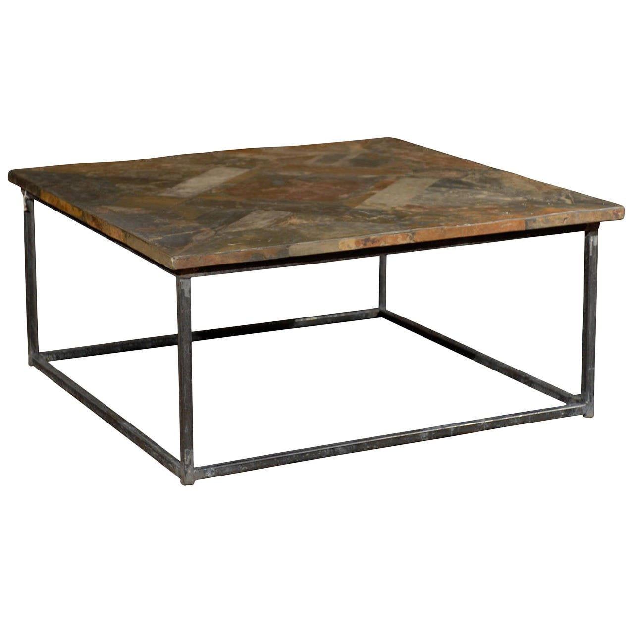 Square coffee table with iron base and slate top at 1stdibs Slate top coffee tables