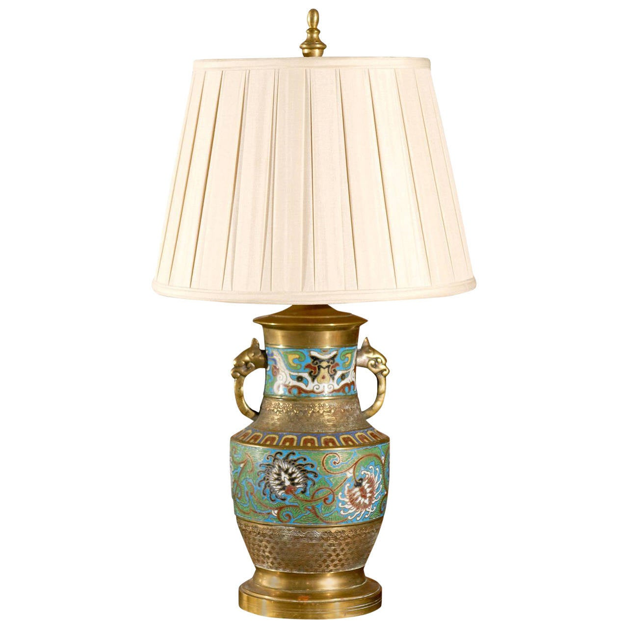 Superior Chinese Cloisonne Table Lamp For Sale
