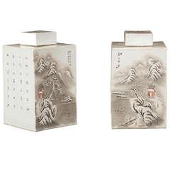 Striking and Rare White Porcelain Tea Caddies