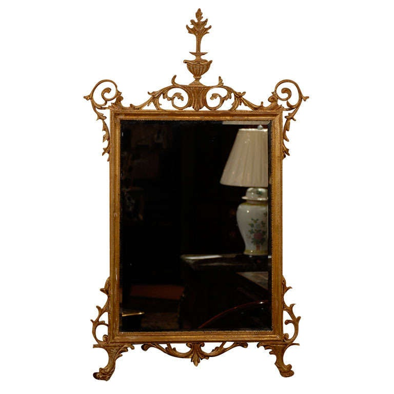 Sheraton Style Gilt Mirror with Scroll and Urn Pediment