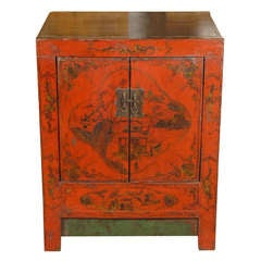 19th C. Painted Red Small Cabinet