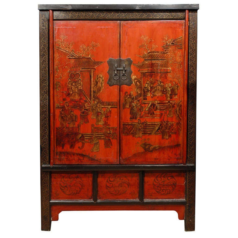 19th C. Shanxi Painted Cabinet