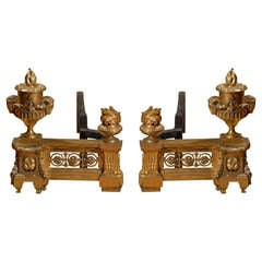 Exquisite Pair of 19th c. French Dore Bronze Andirons