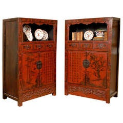 19th Century Rare Pair of Red Hand Painted Qing Dynasty Cabinets
