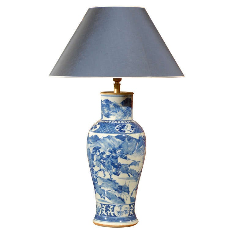 19th Century Blue And White Vase Made Into A Lamp At 1stdibs