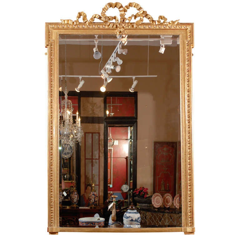 Tall 19th century french water gilt mirror w a bow at the for Tall mirrors for sale