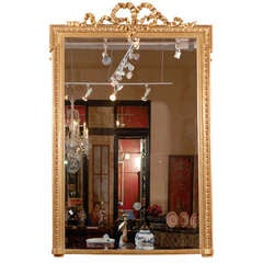 Tall 19th Century French Water Gilt Mirror w/ a Bow at the Crown