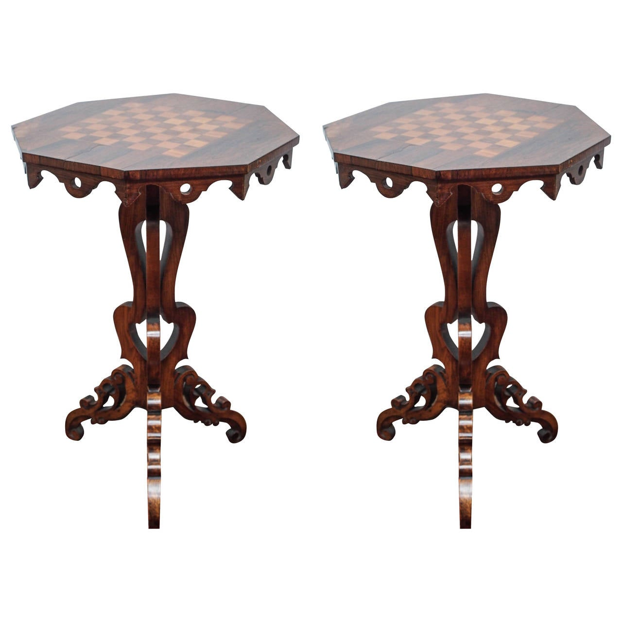 Pair Of Antique Regency Rosewood Chess Tables At 1stdibs