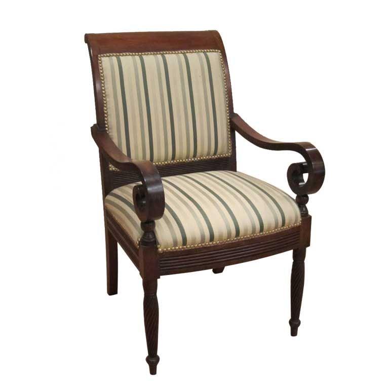 Rare Regency Federal Scroll Arm Chair At 1stdibs