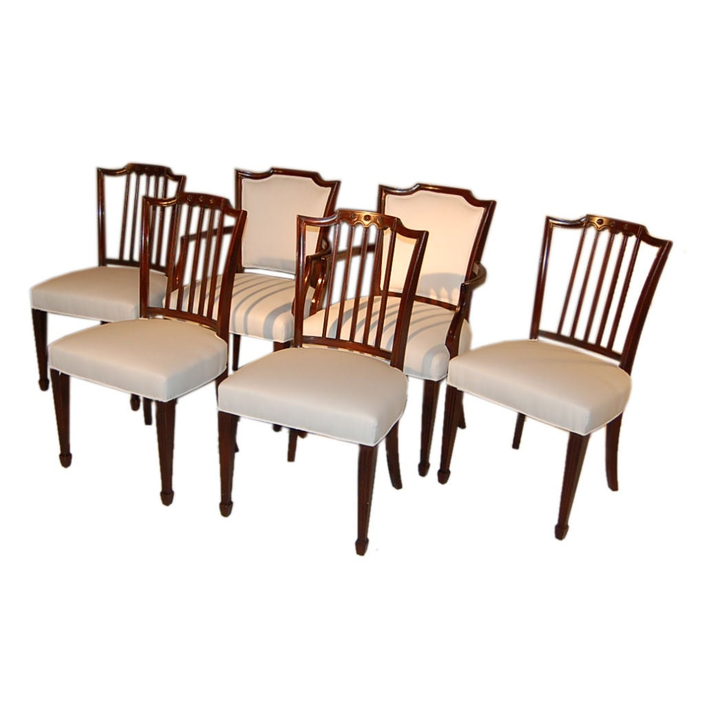 Set Of Six Hepplewhite Dining Chairs At 1stdibs