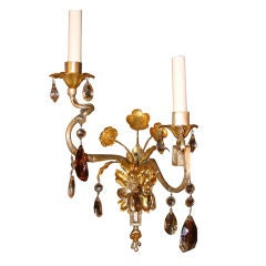 Pair of Bagues Sconces With Silver And Gold Leaf Finish