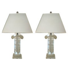 Pair Of Large Lucite Column Lamps