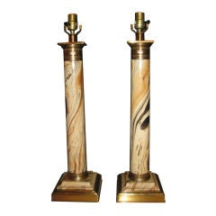 Pair Of French Empire Faux Marble Column Lamps