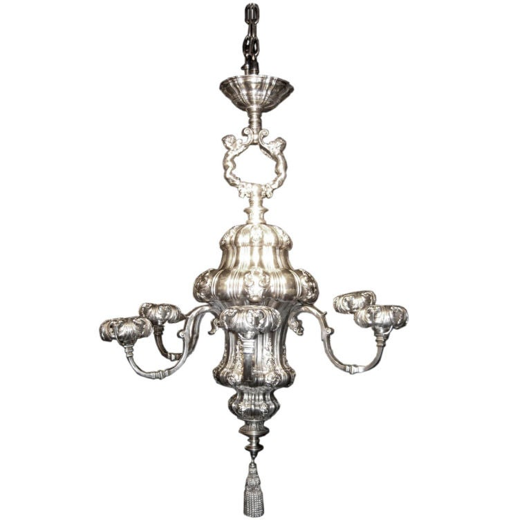 1890 S Silver Plated Chandelier By E F Caldwell For